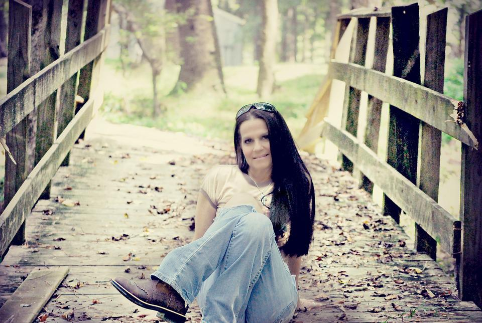Woman, Bridge, Nature, Sitting, Jeans, Outdoors