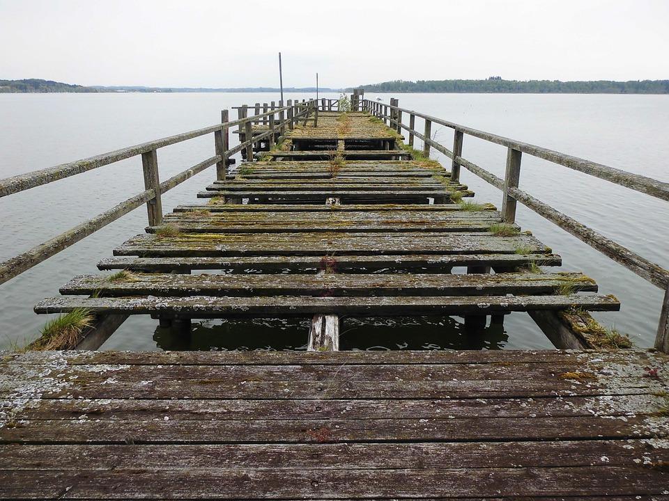 Web, Away, Chiemsee, Wooden Boards, Bridge, Nature