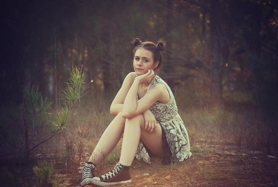 Girl, Sitting, Outside, Nature, Teenager, Young, Woman
