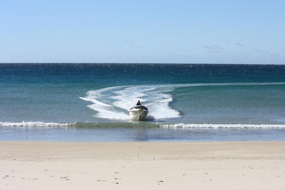 Motorboat, Beach, Ocean, Boat, Nautical