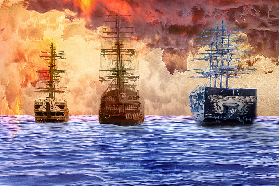 Pirates, Ship, Sailing Ship, Pirate Ship, Naval Battle