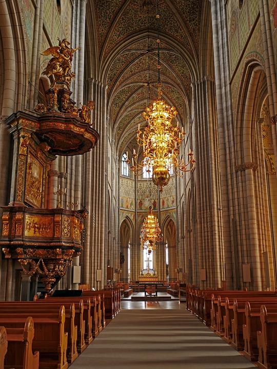 Uppsala Cathedral, Nave, Gothic, Columnar, Vault, Altar