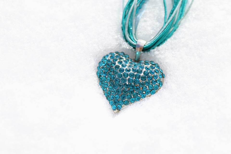 Heart, Love, Necklace, Snow, Jewel, Sparkling Stones