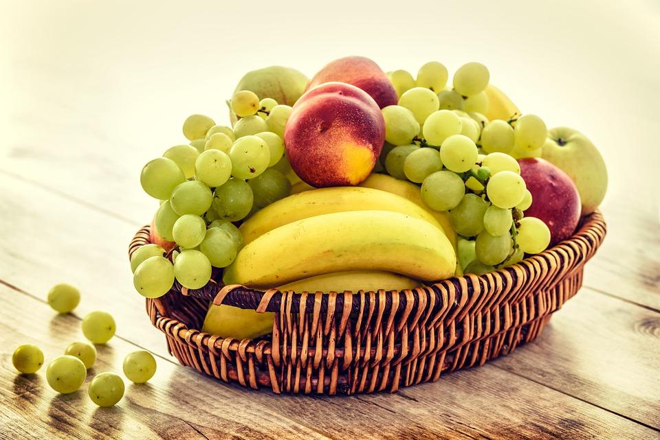 Fruit Basket, Bananas, Grapes, Apples, Nectarines