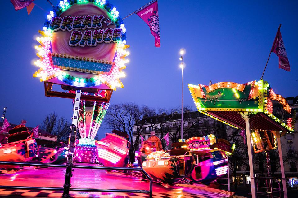 Funfair, Fair, Ride, Evening, Light, Neon