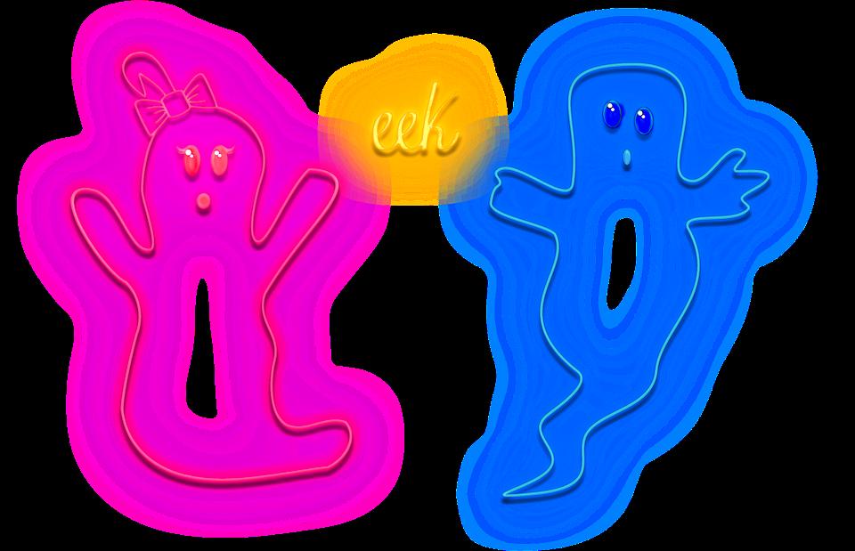 Halloween, Neon Ghosts, Ghosts, Neon Lights