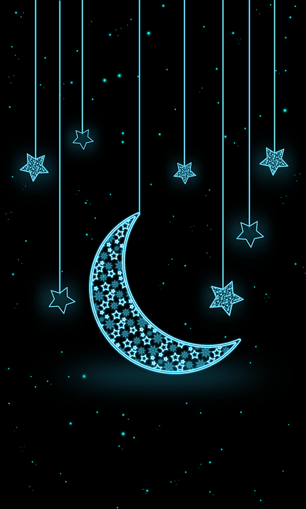 Moon Star Neon Wallpaper Illustration Night