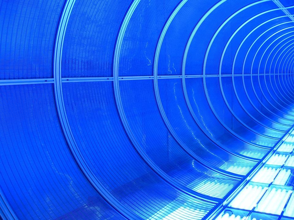 Neon Light, Blue, Neon, Neon Blue, Tunnel, Illuminated