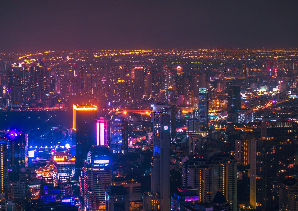 City At Night, Neon, Nightlife, Building, Metropolis