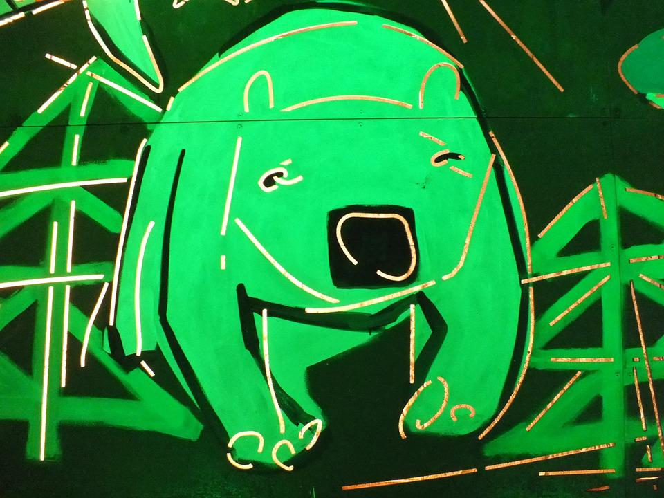 Graffiti, Neon, The Bear, Czech Republic