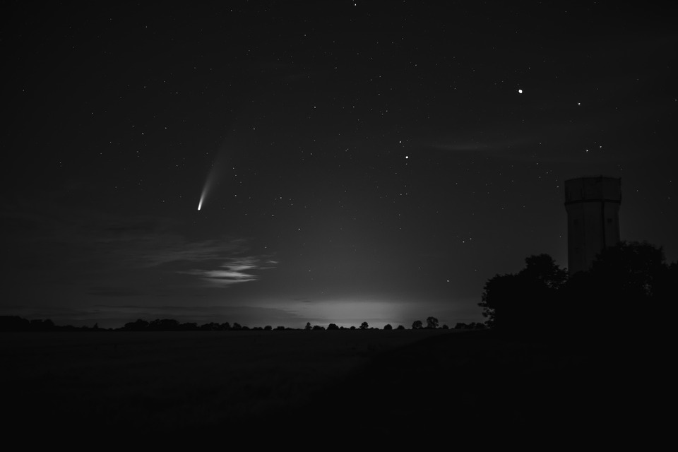 Comet Neowise, Comet, Neowise, Night Sky, Water Tower