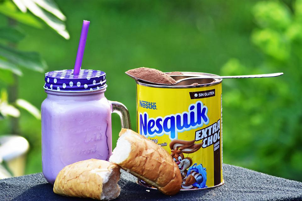 Nesquik, Cocoa, Cocoa Powder, Milk, Crescent, Breakfast