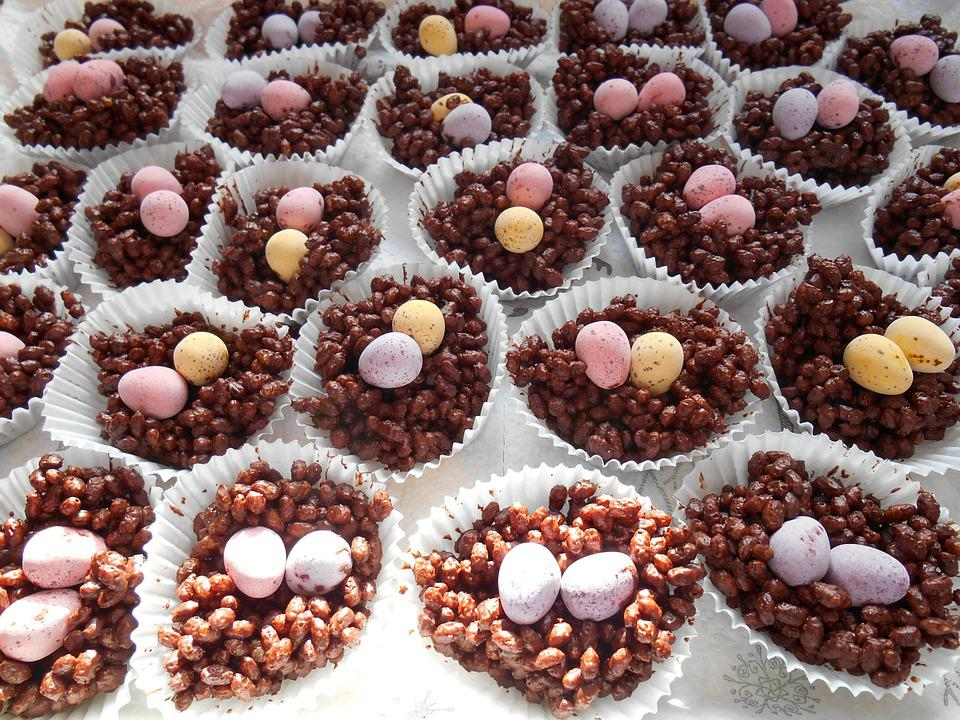 Chocolate, Nests, Easter, Eggs, Cake, Spring, Food