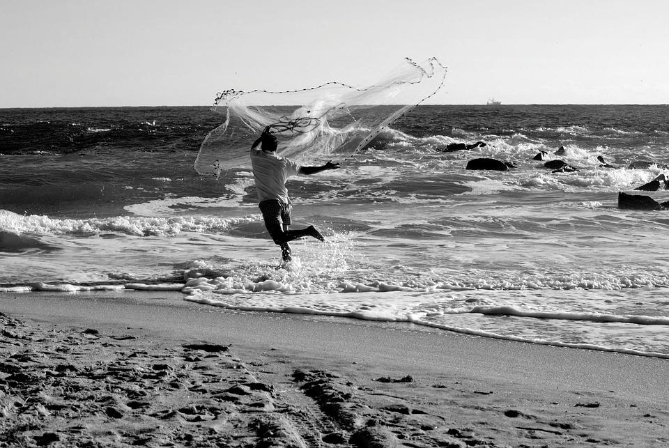 Fisherman, Casting Net, Bait, Water, Fishing, Net, Fish