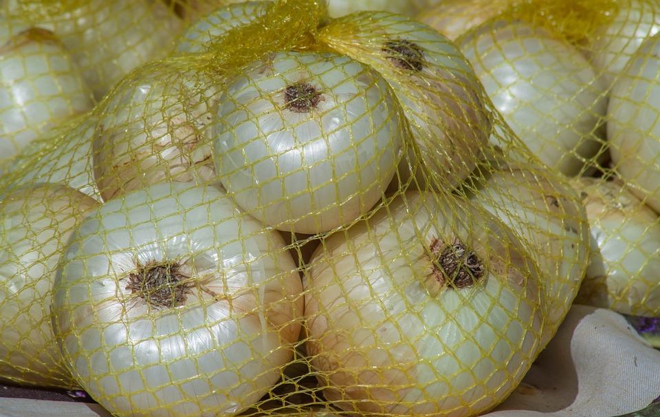 Onions, Net, Vegetable, Market, Harvest