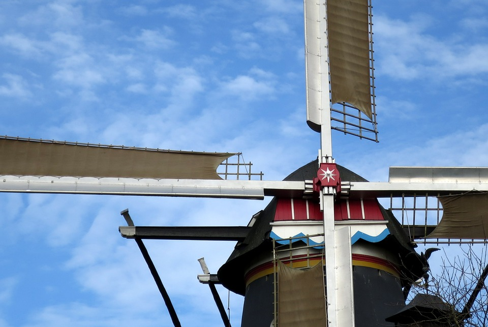 Mill, Netherlands, Wind Mill, Holland, Clouds, Blue Sky