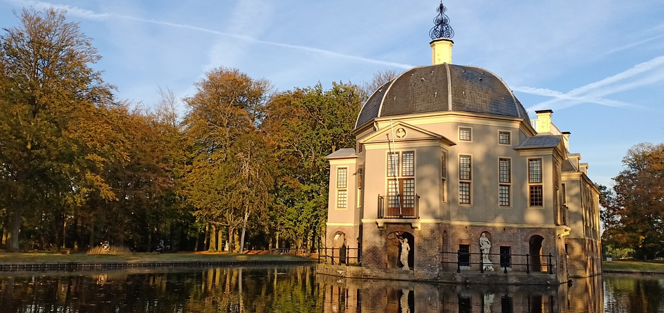 Estate, Fall Colors, Netherlands, Building, Water