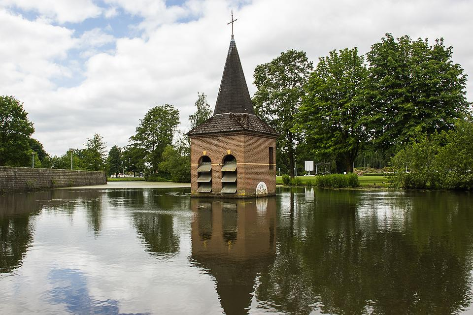 Church Tower, Water, Landscape, Mirror, Netherlands