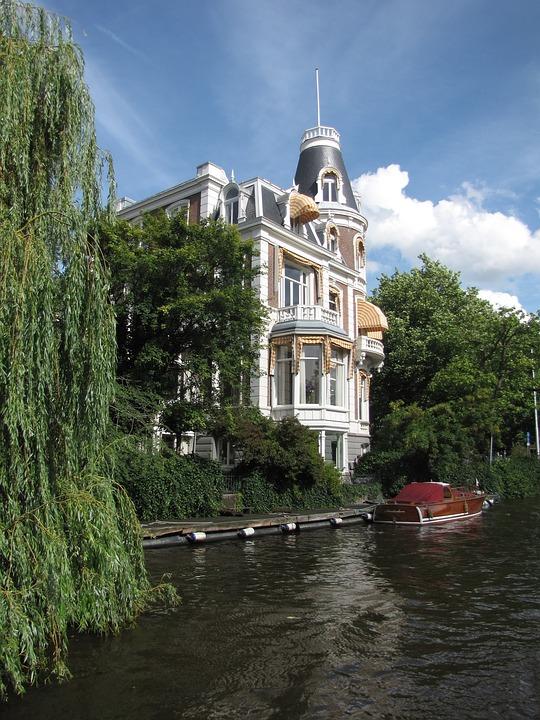 Netherlands, Amsterdam, Boat, Waterfront, Villa