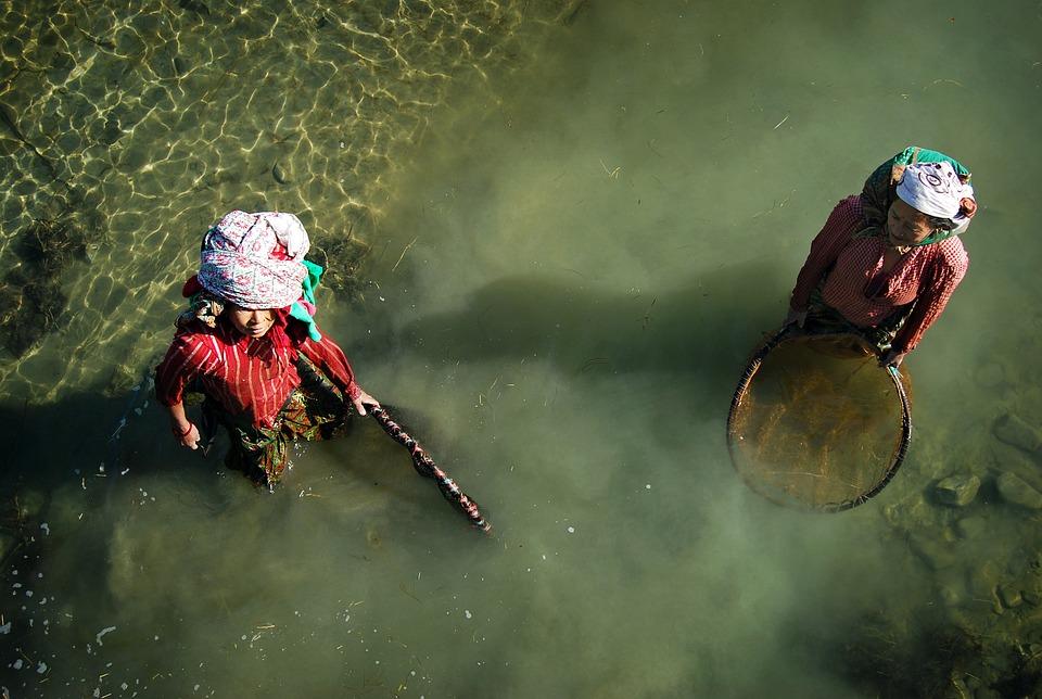 Fishing, Women, Nepal, River, Network, Poverty, Water