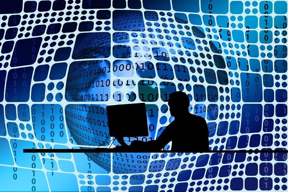 Man, Silhouette, Desk Network, Networking, Earth