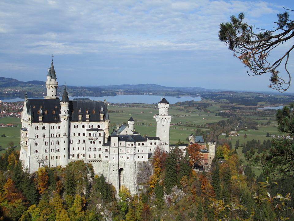 Neuschwanstein Castle, Germany, Autumn, Forest