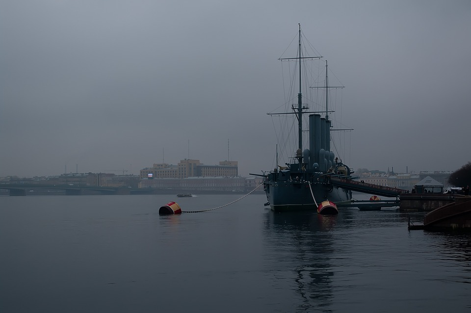St Petersburg Russia, Neva, Fog, Twilight, Cruiser