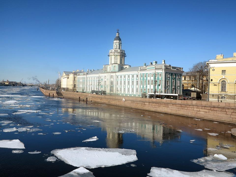 St Petersburg, Russia, River, Neva, Ice Chunks, Winter