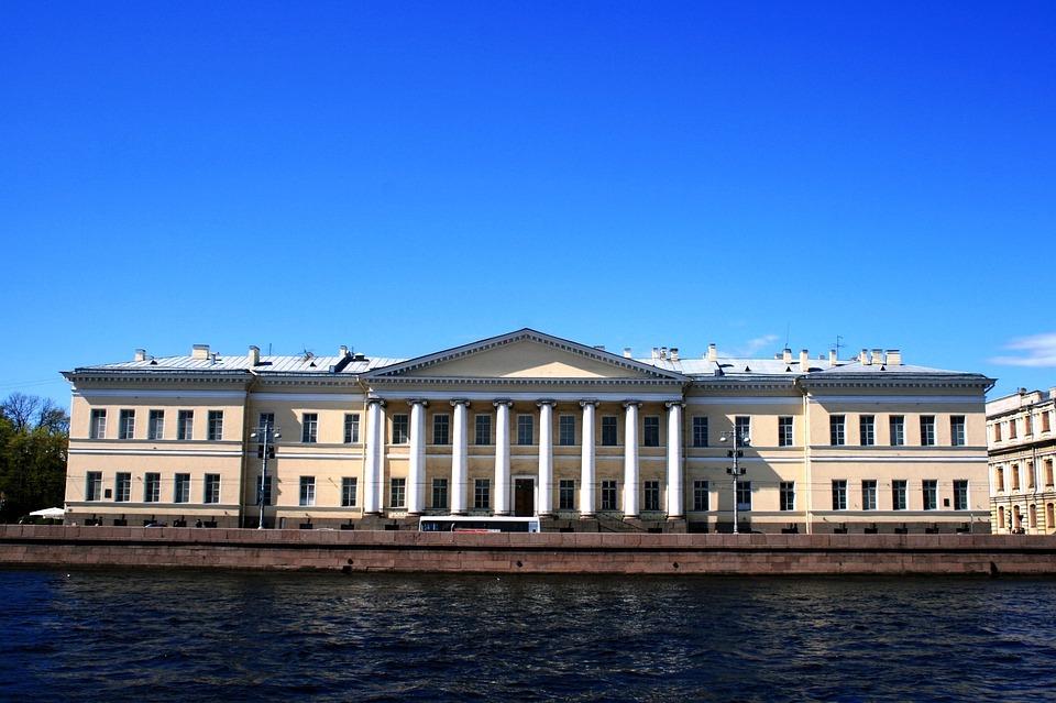 River, Neva, Water, Blue, Embankment, Building, Pillars