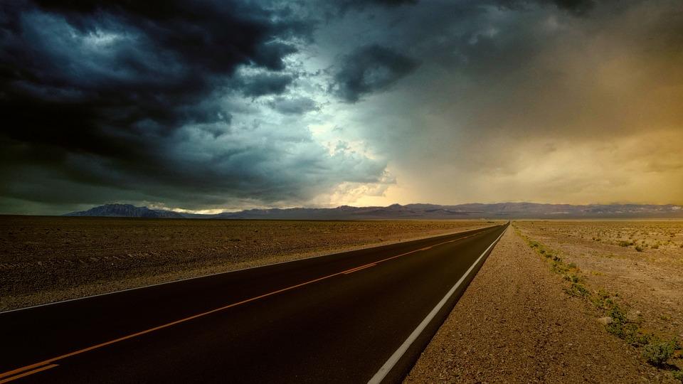 Road, Desert, Nevada, Weather, Clouds, Rain, Landscape