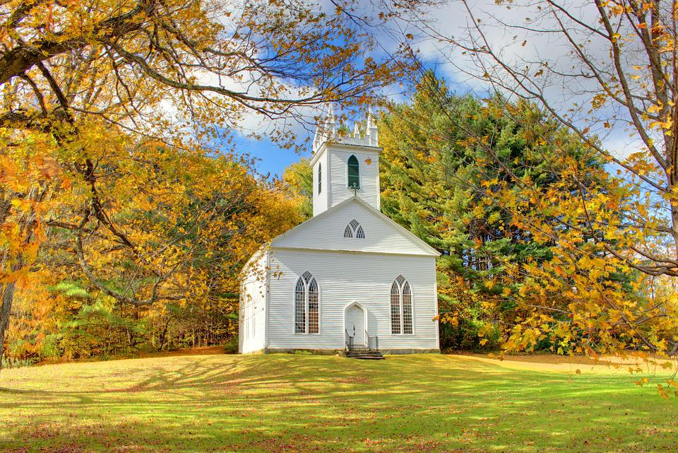Church, New England, Fall, Autumn, Foliage, Bible