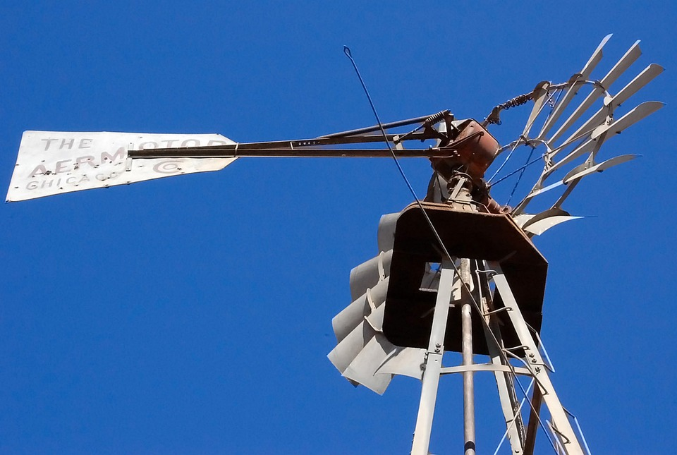 Windmill, Aermotor, Old Windmill, Blue, Sky, New Mexico
