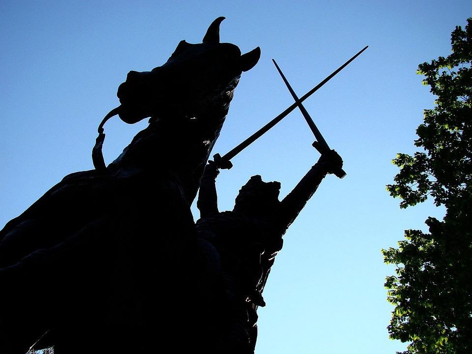 Statue, King, Horse, Sword, Tree, Sky, Park, Sun, New