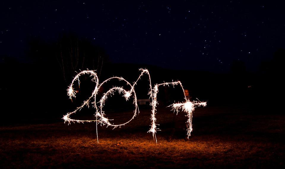 Night, 2017, New Year's Eve, New Year 2017, Sparklers