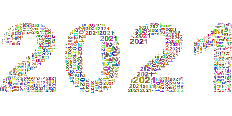 New Year, Calendar, 2021, Typography, Colorful