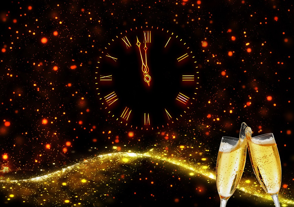 Clock, Champagne, New Year, New Year's Eve