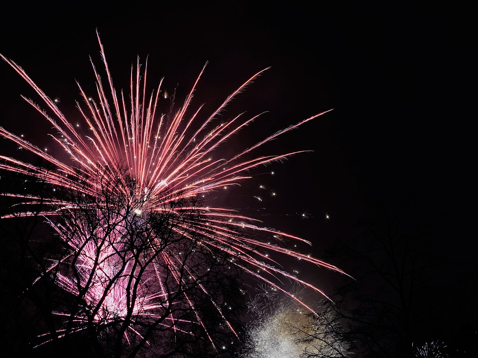 Fireworks, Sky, New Year's Day, 2017