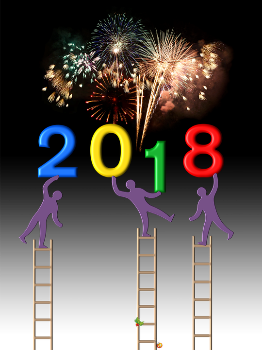 New Year's Day, 2018, Party, Fireworks, Night, Ladder