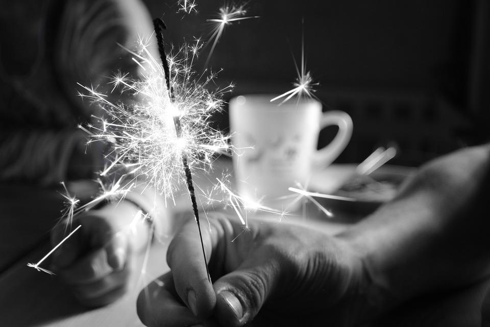 Sparkler, Celebration, Black And White, New Year's Eve