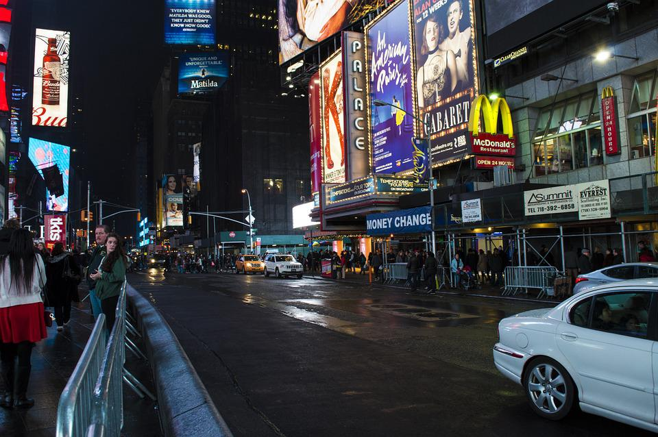Times Square, New York, Usa, Street, Road, City, Urban