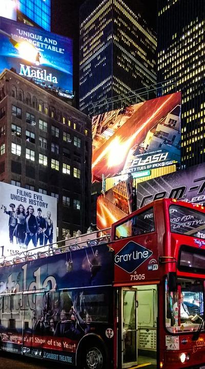 Manhattan, New York City, Time Square, Usa, Bus, Lights