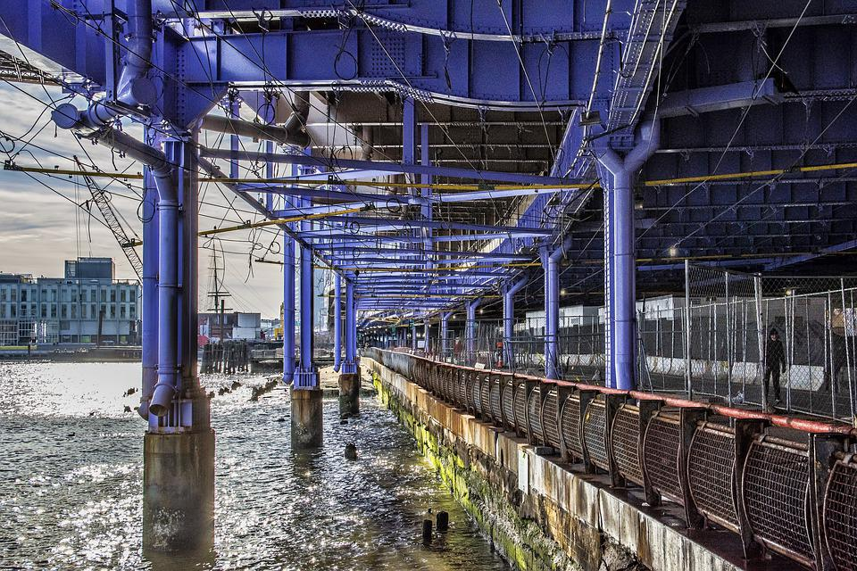Manhattan, New York, River, Dock, Bridge, Cityscape