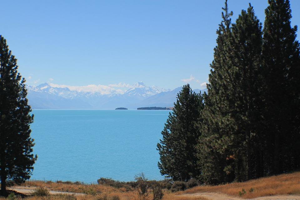 New Zealand, Mount Cook, Mountains, Glacier, Lake, Blue