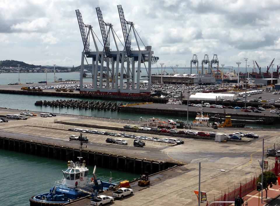 New Zealand, Auckland, Port, Crane, Sea, Downtown, Tug