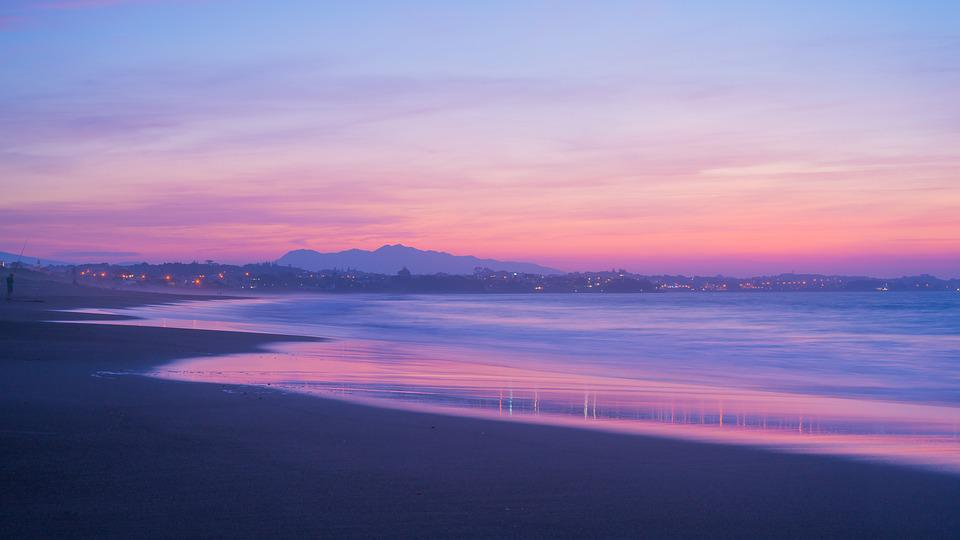 Purple, Beach, Sunset, New Zealand, Sea, Nature, Water