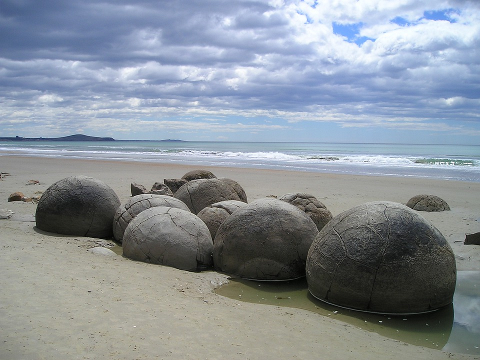 New Zealand, Sea, Beach, Rock, Round, Moeraki Boulders