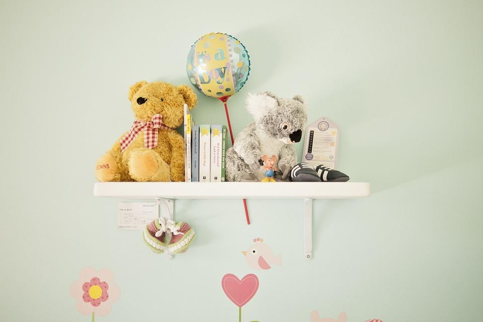 Nursery Decoration, Teddy, Shelf, Baby, Newborn, Books
