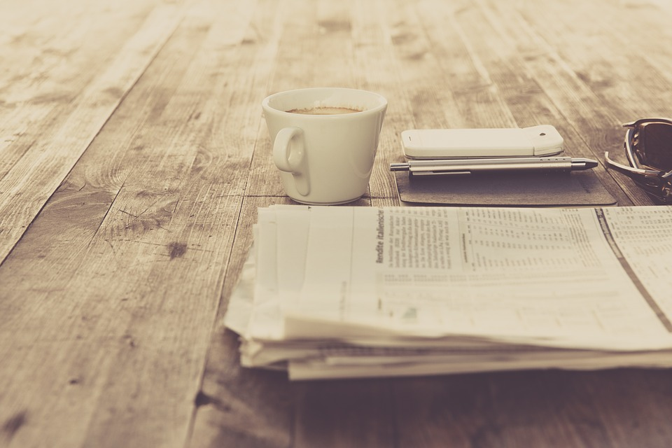 Newspaper, Coffee, Vintage, Retro, Table