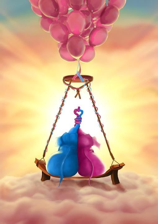 Elephants, Balloons, Pink, Animals, Nice, Heart, Love