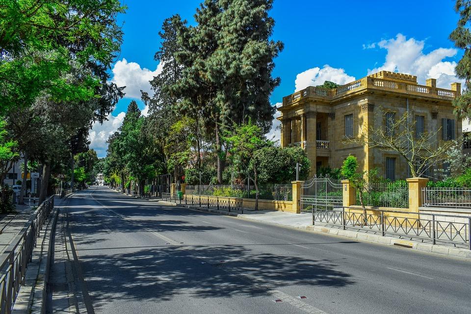 Trees, Street, Building, Architecture, Travel, Nicosia